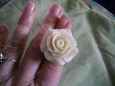 Vintage Enormous Celluloid Rose Bone Ring- Nicely Carved 3D- Size 7-8 Adjustable
