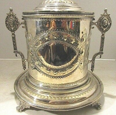 Victorian Presentation Footed Silverplate Biscuit..hinged Lid...england