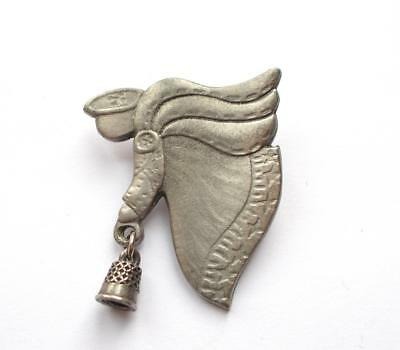 Vintage 70's Silver Tone / Pewter Guardian Angel With Bell Brooch
