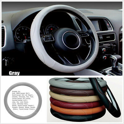 """38CM/15"""" Gray Breathable PU Leather Car SUV Truck Steering Wheel Protector Cover"""