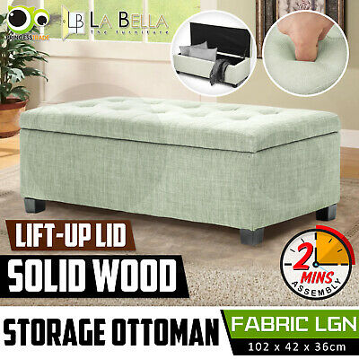 Storage Ottoman Blanket Box Linen Fabric Foot Stool Couch Bed Large LIGHT GREEN