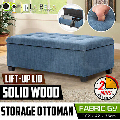 Storage Ottoman Blanket Box Linen Fabric Foot Stool Couch Bed LARGE NAVY GREY
