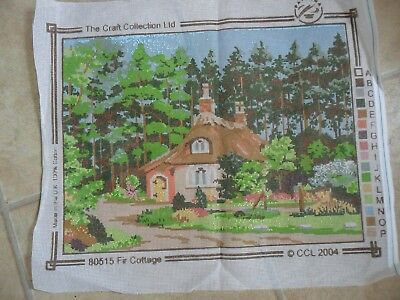 """Printed Tapestry Canvas Craft Collection. FIR COTTAGE. 20 x 16"""" NEW"""