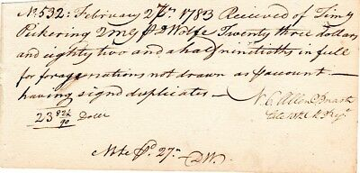 1783, Nathaniel C. Allen, Paymaster, 10th Mass. Infantry, signed Pickering note