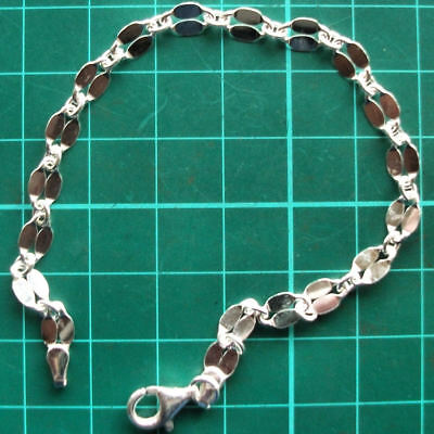 Auction .925 Solid Sterling Silver Mirror Link Chain Bracelet B007 7.5 Inch