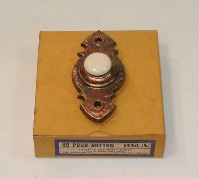 Vintage DOOR BELL Hammered Copper PUSH BUTTON Arts & Crafts Metal Unused in Box