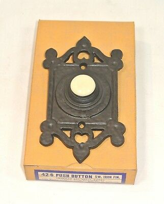 Vintage DOOR BELL Hammered Metal PUSH BUTTON Arts & Crafts Unused in Box