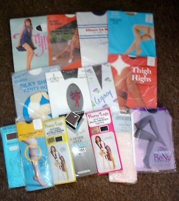 Job Lot 16 Pairs Vintage Tights & Stockings In Packets Various Sizes & Shades