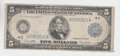 Federal Reserve Note $5 1914 lower grade