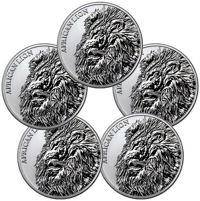 Lot of 5 2018 Republic of Chad African Lion 1 oz Silver BU Coins SKU51642