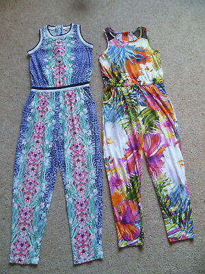 Trendy Girls RIVER ISLAND X2 Jumpsuits Floral & Tropical Jungle Print 7-8 Yrs