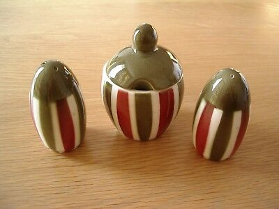 Vintage W.goebel W. Germany 3-Piece Cruet---Green, Red And Cream Striped Pattern