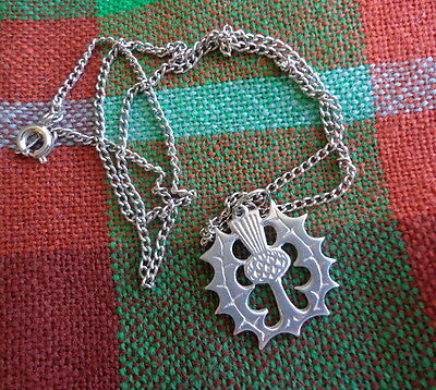 Vintage Silver-tone Celtic Necklace:  Small SCOTTISH THISTLE Pendant on Chain