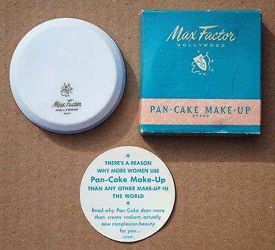 VINTAGE 1940's MAX FACTOR PAN-CAKE MAKEUP IN ORIG BOX AMBER No.2 NEW UNUSED NOS