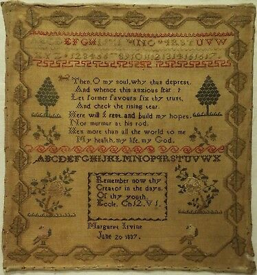 Early 19Th Century Verse, Motif & Quotation Sampler By Margaret Irvine - 1837