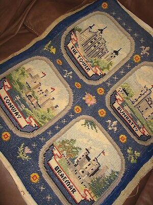Vintage Tapestry Needlepoint Panel Cushion Cover Castles Conway Braemar Bunratty