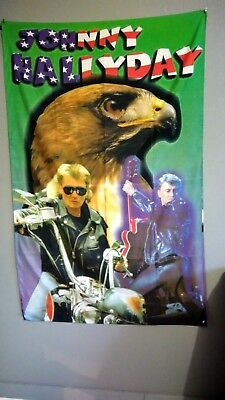 Grand Porte Drapeau Johnny Hallyday aigle moto guitare couleurs vives rares