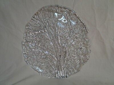 "Beautiful Large, Heavy,  Clear Glass Leaf Plate/Serving Platter 11"" B4"