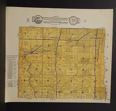 Wisconsin Kenosha County Map Pleasant Prairie Township  c.1930s J18#82