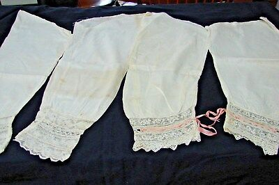 2 Pair Antique Victorian Edwardian Lace & Ribbon Nightgown Sleeves