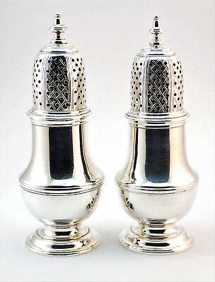 c1755 SUPERB ANTIQUE 18thC GEORGE II PAIR SOLID SILVER SUGAR CASTERS PEPPERETTES