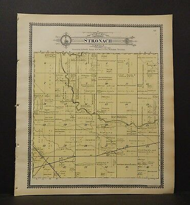 Michigan Manistee County Map Part of Stronach Township  1903 J19#10