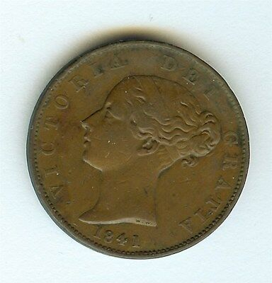 Great Britain 1841 Half Penny  Extremely Fine Km#726