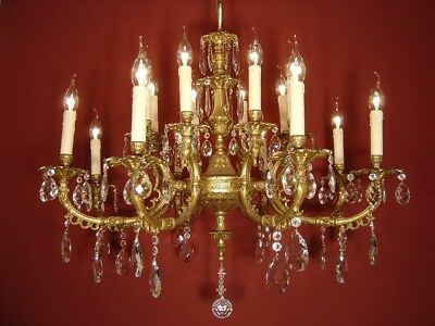 Strong Gold Bronze Finish Mat 16 Light Crystal Chandelier Old Fixtures Lamp Old