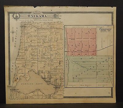 Michigan Manistee County Map Onekama Township  1903 J19#24