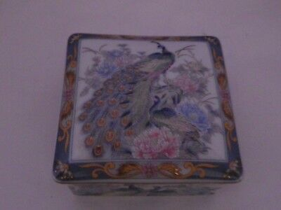 Fab Vintage Japanese Peacock/peony Des Square Lidded Trinket Pot 7.5 Cms Square