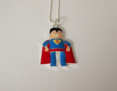 SUPERHERO SUPERMAN Inspired Large Charm NECKLACE Snake Chain