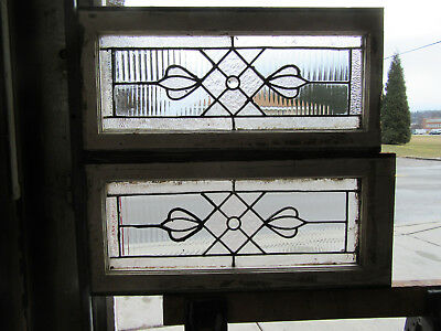 ~ Pair Of Antique Stained Glass Windows ~ 25 X 12 ~ Architectural Salvage ~