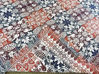 Old Antique Jacquard COVERLET Red White Blue BED SPREAD BLANKET Bird Butterfly