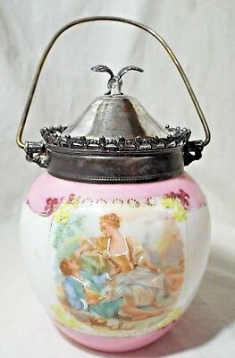 Antique Milk Glass HP Loving Couple Design BISCUIT CRACKER JAR Signed BOUCHER