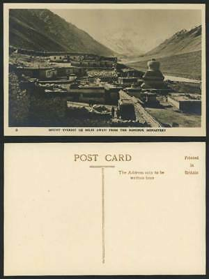 TIBET China Old Real Photo Postcard MT. EVEREST, RONGBUK MONASTERY Pagoda Temple