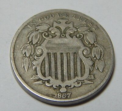 1867 w/ Rays Shield Nickel Coin - Better Variety