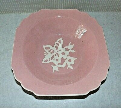 "Rare Vintage Harker Cameo Ware Pink 8.25"" Square Vegetable Bowl"