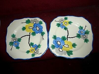 "J And G Meakin  Sol plates x 2 1859 pattern Art Deco 8.5"" blue yellow floral"