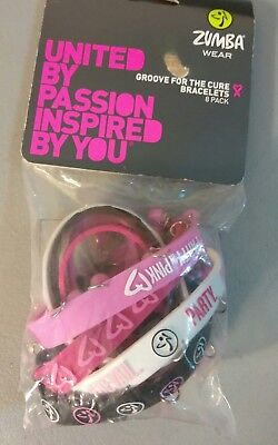 Zumba ~ Party In Pink Rubber Bracelets 2014 - 8 Pack! (4 with bells)