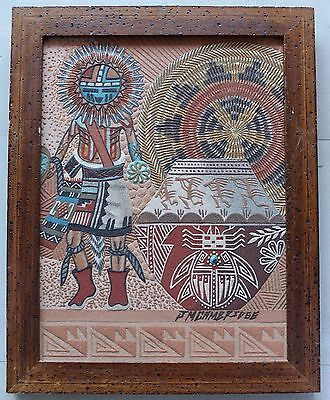 Tawa Kachina Sand Painting By Navajo Artist James M. Cambridge Signed With Story