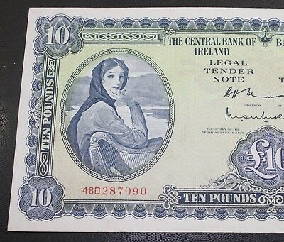 Ireland 1976 Irish Lavery £10 Note NEARLY EXTRA FINE Currency Ten Pound Note P66