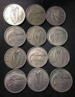 Old Ireland Coin Lot - FLORINS - 1951-1968 - High Quality Coins - Lot #FB12