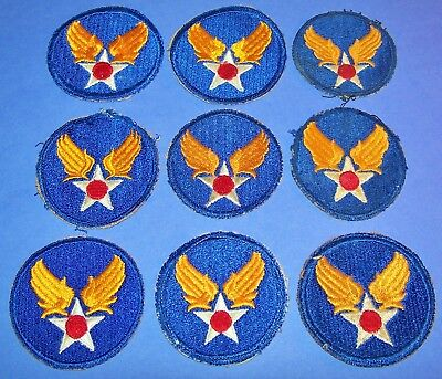 Lot Of 9 Original Cut-Edge Ww2 Aaf Hq / Command Patches, 1 Greenback