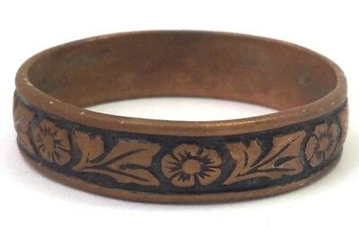 Vintage Copper Ring Band Flower Design Size 12 Men'S Or Women'S Jewelry