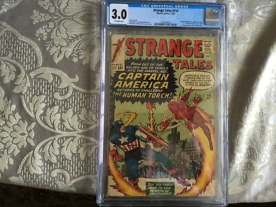 """Strange Tales 114-1st """"Captain America"""" since 1954! Acrobat in disguise! CGC 3.0"""