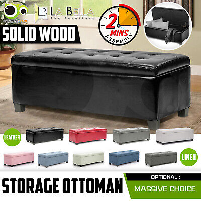Storage Ottoman Blanket Box Linen Fabric Foot Stool Couch Bed LARGE