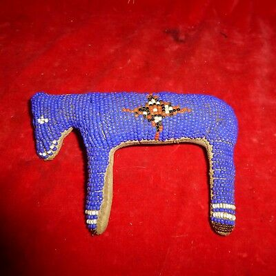 "Rare Ca 1890 Native American Sioux Indian 6 "" Beaded Buckskin Horse Fetish - Exc"