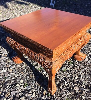 Antique Asian End Side Table Carved Ornate Claw Teak Wood Vintage Oriental Old