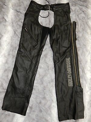 HARLEY DAVIDSON XS Petite black leather chaps NWT $275 MSRP Deluxe
