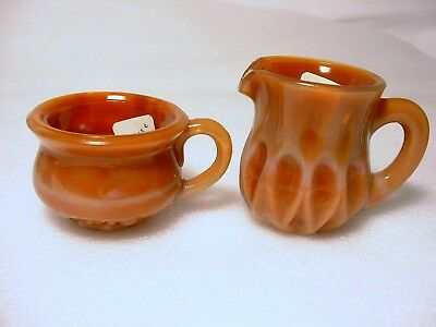 Boyd Glass - Pottie Salt and Mini Pitcher - Carmine 1st color made Oct 1978 Slag